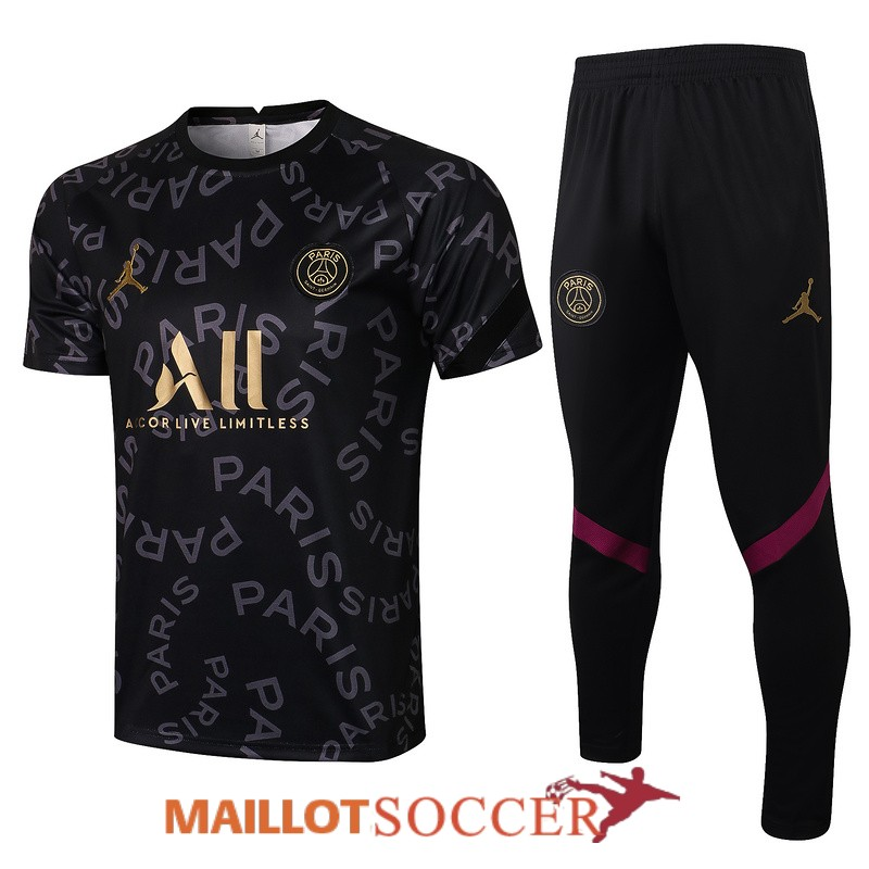 maillot paris saint germain entrainement ensemble complet noir or 2021 2022