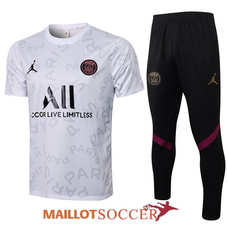 maillot paris saint germain entrainement ensemble complet paris blanc gris 2021 2022