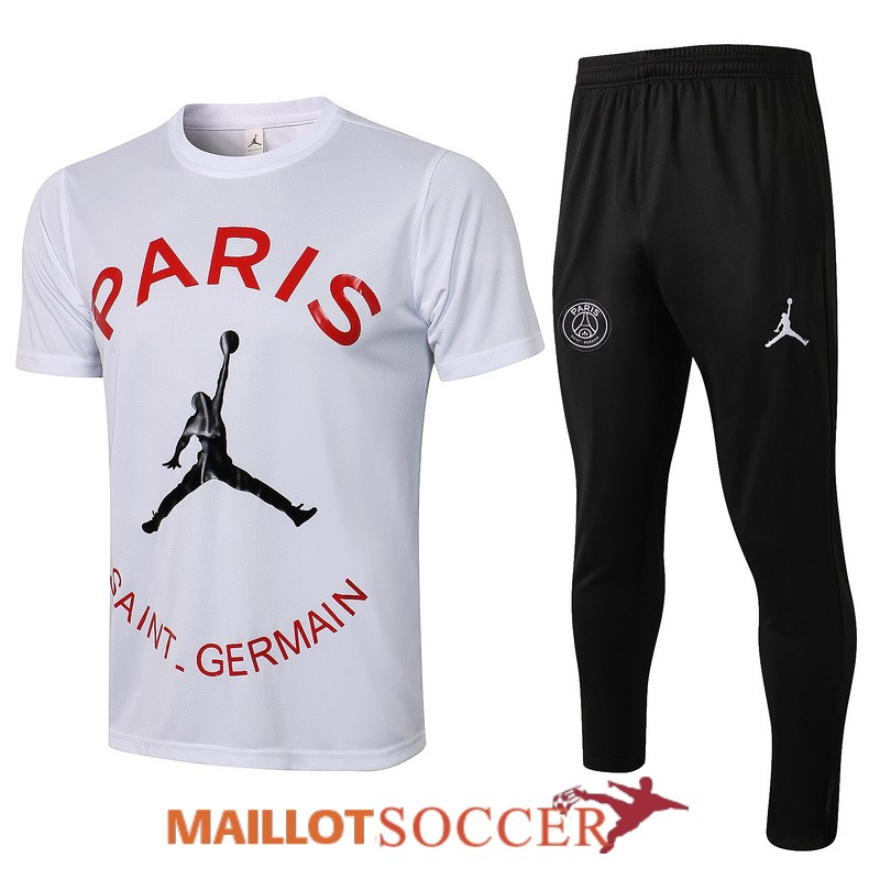 maillot paris saint germain entrainement ensemble complet paris blanc rouge 2021 2022